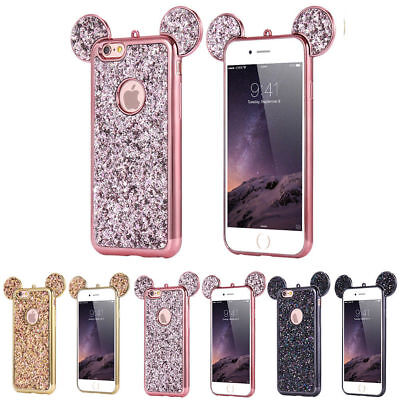 Glitter Bling Cute Mickey Ear Phone Case TPU Protective Cover for iPhone/Samsung