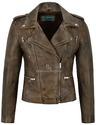 Women's Leather Jacket Dirty Brown Fashion Designer Motorcycle Biker Style 7113