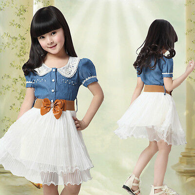 Children Girls Kids Denim And Tulle Stitching Tulle Dress Party Dresses Clothes