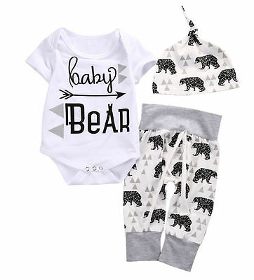 Kids Toddler Girls Boy Baby Bear Romper Pants 3pcs Outfits Set Casual Clothes UK