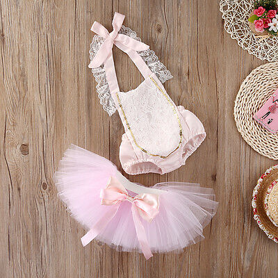 UK Pink Baby Girls Lace Floral Romper+Tutu Skirts Dress 2pcs Outfits Set Clothes