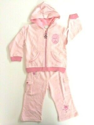 Toddler Girls Pink Tracksuit with Angel Star patch Size 18 months New