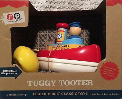 NEW Fisher Price Tuggy Tooter Tugboat 02074 in Box Excellent Toddler Bath Toy