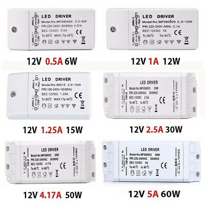 LED Driver Power Supply Transformer DC12V-48V Non Dim 6W-60W For MR16/MR11 Light