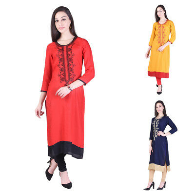 Printed Ethnic Embroidery Indian Bollywood Designer Cotton Tunic Women's Kurti