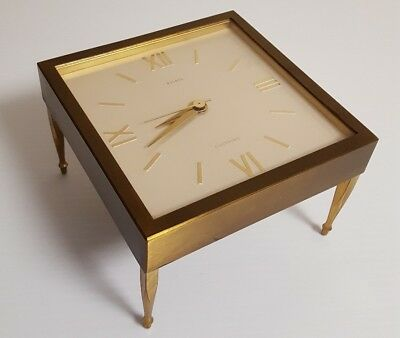 Brass BULOVA Battery ELECTRONIC Clock 4 LEGS Square Table Style MOVEMENT Works!