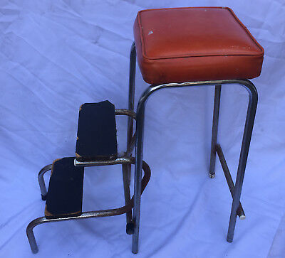 Retro Brown Kitchen Breakfast Bar Chair Stool Seat Step Ladder Vintage Folding 2
