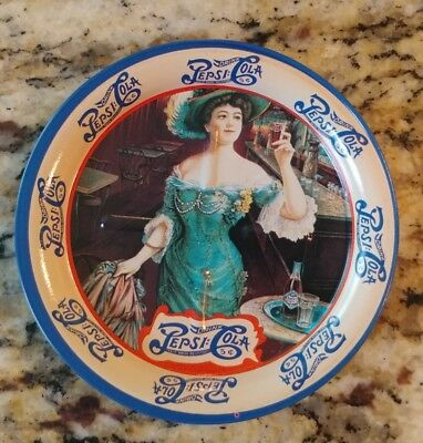 PEPSI COLA set of 6 tin coasters, victorian lady excellent cond.