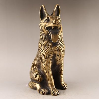 Antique China old handmade bronze animal Lucky dog Statues Decoration