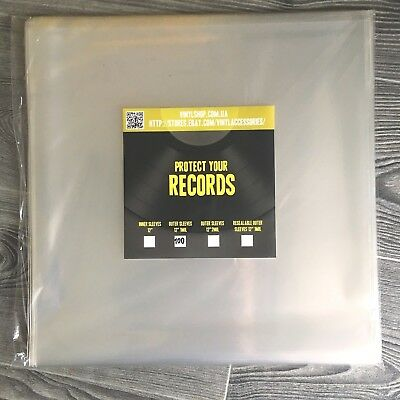 """100 Outer vinyl records plastic cover sleeves 12inch"""" LP - FREE SHIPPING"""