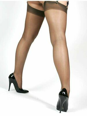 20 Denier Sheer Back Seam Seamed Lace Top Black Hold Up Stockings - Small