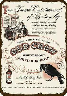 1948 OLD CROW WHISKEY Vintage Look REPLICA METAL SIGN  LUDLOW KENTUCKY COMEDIANS