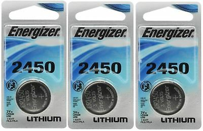 3 x Super Fresh Energizer CR2450 ECR 2450 3v LITHIUM Coin Cell Battery Exp. 2026