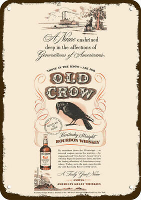 1948 OLD CROW WHISKEY Vintage Look REPLICA METAL SIGN - MISSISSIPPI STEAMBOAT