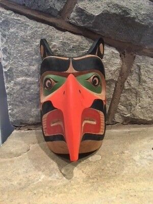 Ned Matilpi Original Carved Hand Signed Mask North West Coast Thunderbird 1990's