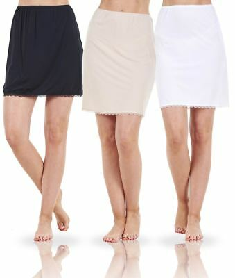 Ladies Seconds Plain Anti Cling Cooling Half Slip Underskirt Petticoat