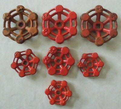 7 Red Steam Punk Cast Iron Water Valve Handles (Various Sizes)