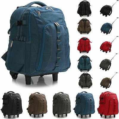 Unisex Travel Backpack Rucksack Luggage Bag With Wheels Trolley Sport Hiking Bag