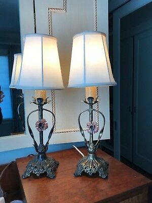 Pair of Antique CAST IRON Floral Candlestick BOUDOIR Table Lamps silk shades