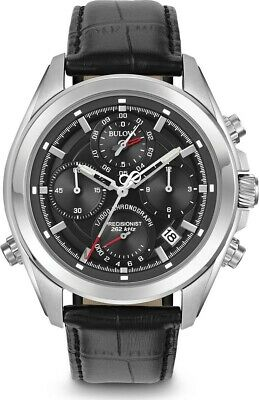 Bulova Men's Chronograph Black Strap Precisionist 262 kHz Watch 96B259