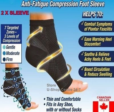 2 X Sleeve Compression Unisex Plantar Fasciitis Foot Pain Heel Ankle Socks