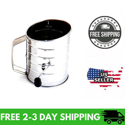 Norpro 3-Cup Stainless Steel Rotary Hand Crank Flour Sifter With 2 Wire