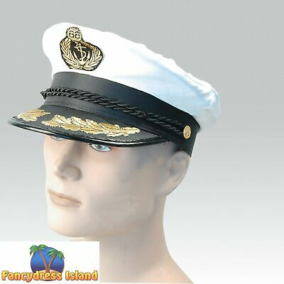 MILITARY DELUXE MARINE CAPTAIN'S HAT Mens Fancy Dress Costume Accessory