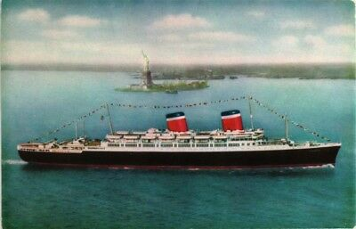 Dr Jim Stamps Us Postcard Ss America Luxury Liner Ship Statue Of Liberty