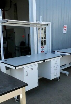 """33"""" X 72"""" X 36"""" Tall Laminate Top Lab Work Bench/table 1 Door 3 Drawer & Upright"""