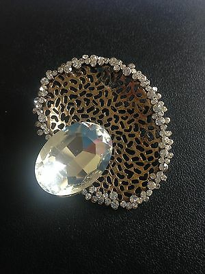 Vintage Art Deco Diamante 40S Style Gold Tone Clear Stone Brooch