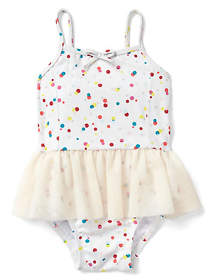 Baby Gap Girl's Confetti Dots Tutu One Piece Swim Suit NEW 0-6 M