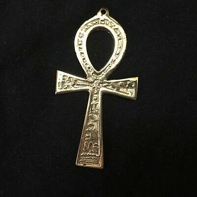 Ancient Egyption Ankh Brass Wall Hanging Engraved Cross Key of Life Hieroglyghic