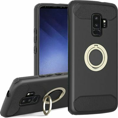 For SAMSUNG GALAXY S9 PLUS Brushed Hybrid Phone Case with Ring Stand - Black