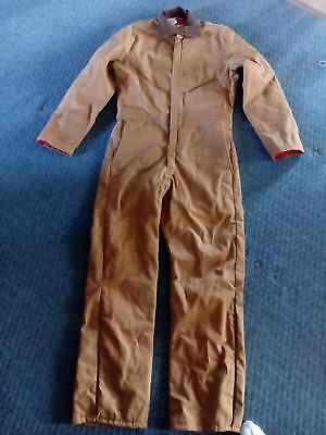 Mens size L WALLS Blizzard Pruf Brown COVERALLS JUMPSUIT Insulated Cotton