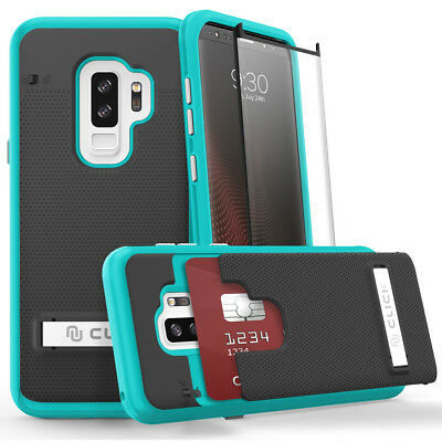 For SAMSUNG GALAXY S9 Phase Series by Click Case + Glass Film Screen - Teal