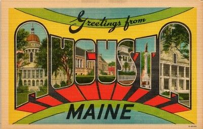 Dr Jim Stamps Us Postcard Greetings From Augusta Maine Big Letters Linen