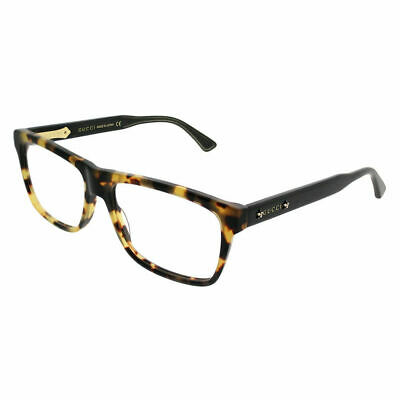 b6275141194ed Gucci GG0269O 004 Light Havana Black Plastic Rectangle Eyeglasses 56mm