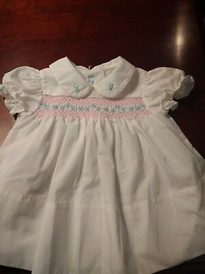 4f7703ff0f4 VINTAGE BABY TOGS Smocked Infant Girls Dress Size 3 To 6 Months ...