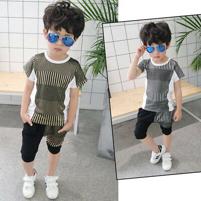 2 Piece Set Kids Boys Striped Casual short sleeve T Shirt tops shorts age 3-4Y