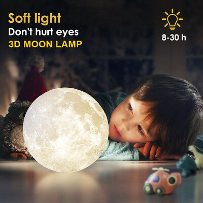 Dimmable 3D Magical Moon Lamp USB LED Night Light Moonlight Gift Touch Sensor QN