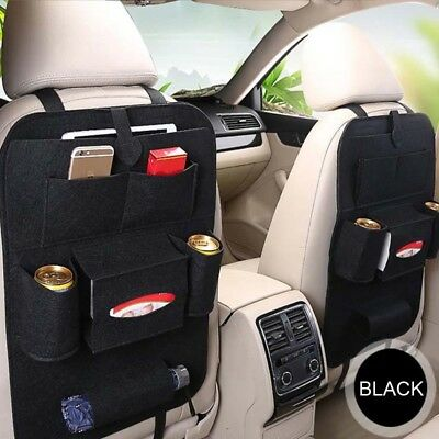 Black Car Auto Seat Back Protector Multi-Pocket Storage Organize Bag