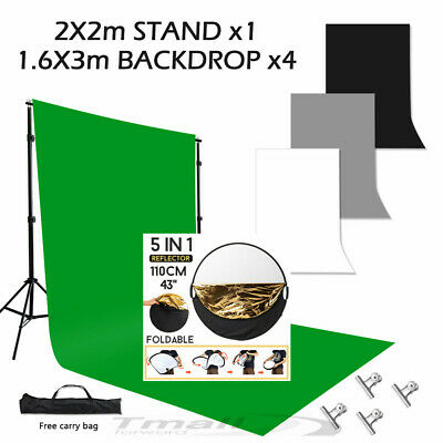 """Photography Screen Green Backdrop Light Stand Set 5 in1 43"""" Reflector Handle KIT"""