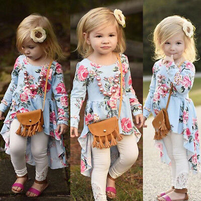Toddler Kid Baby Girl Flower Long Sleeve Princess Party Pageant Dress Outfit 00