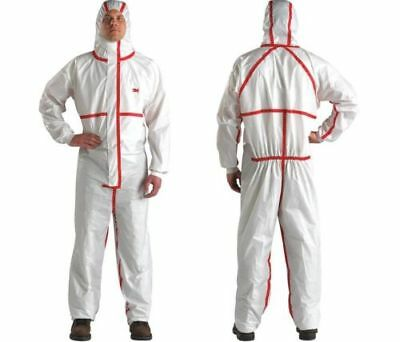 3M 4565-XL Hooded Coverall, Type 4/5/6. White/Red, Size: XL. **NEW**