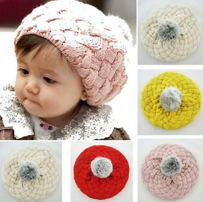 Baby Winter Beanie Hat Cap Warm Kids Girls Boys Knitted Crochet 4 Colors AU