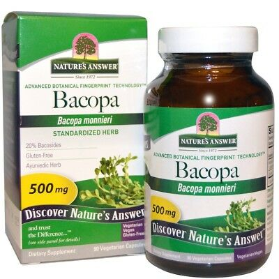 Nature's Answer Bacopa Monnieri 500mg 90 Vegetarian Capsules | Leaf Powder Plant