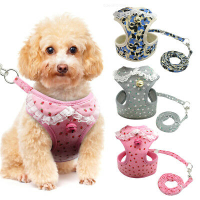 Lace Dog Harness Leash Set Soft Mesh Pet Puppy Vest Lead For Small Medium Dog