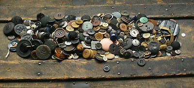 Mixed Lot of Vintage Buttons & buckles Black, Brown, Blue, Green
