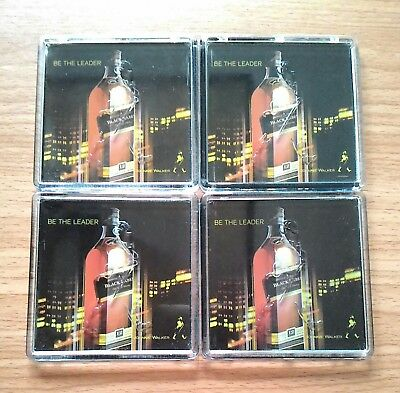 Rare 4 Pcs Johnnie Walker Black Lable Bottle Coaster Scotch Whisky Collectible