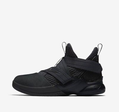 finest selection f3b6e 9164a NIKE LEBRON JAMES Soldier XII 12 Triple Black Anthracite AO2910-002 GS Boys  Size